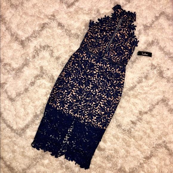 a4ae7c14dcc84 Divine Destiny Navy Blue Lace Midi Dress